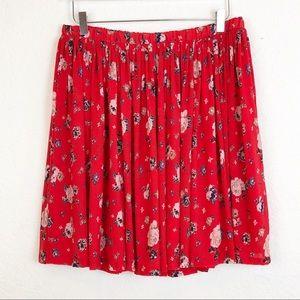 Torrid | NWT Red Floral Skater Skirt Size 2XL